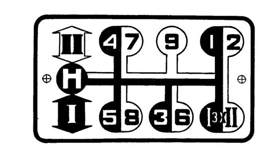 Положение рукояти переключателя скоростей в МТЗ 80.