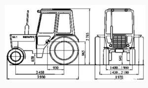высота трактора мтз 82 с малой кабиной